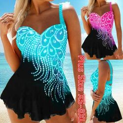 Women Feather Print Tankini Summer Beach Padded Swimwear Halter Two Piece Swimsuit High Waist Bathing Suit Plus Size S-8XL 2020