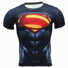 Superman Punisher Rashgard Running Men T-shirt koszule kompresyjne kapitan ameryka koszulka na siłownie Fitness t Shirt Men(China)