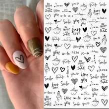 1 pièces 3D noir blanc Nail Art autocollants amour coeur abstrait géométrique Animal feuille fleur Design ongle décalcomanie manucure décorations