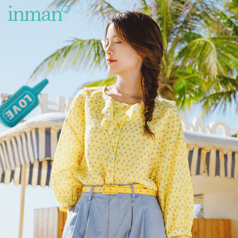 INMAN 2020 Summer New Arrival French Style Elegant Falbala Loose Literary Retro Blouse