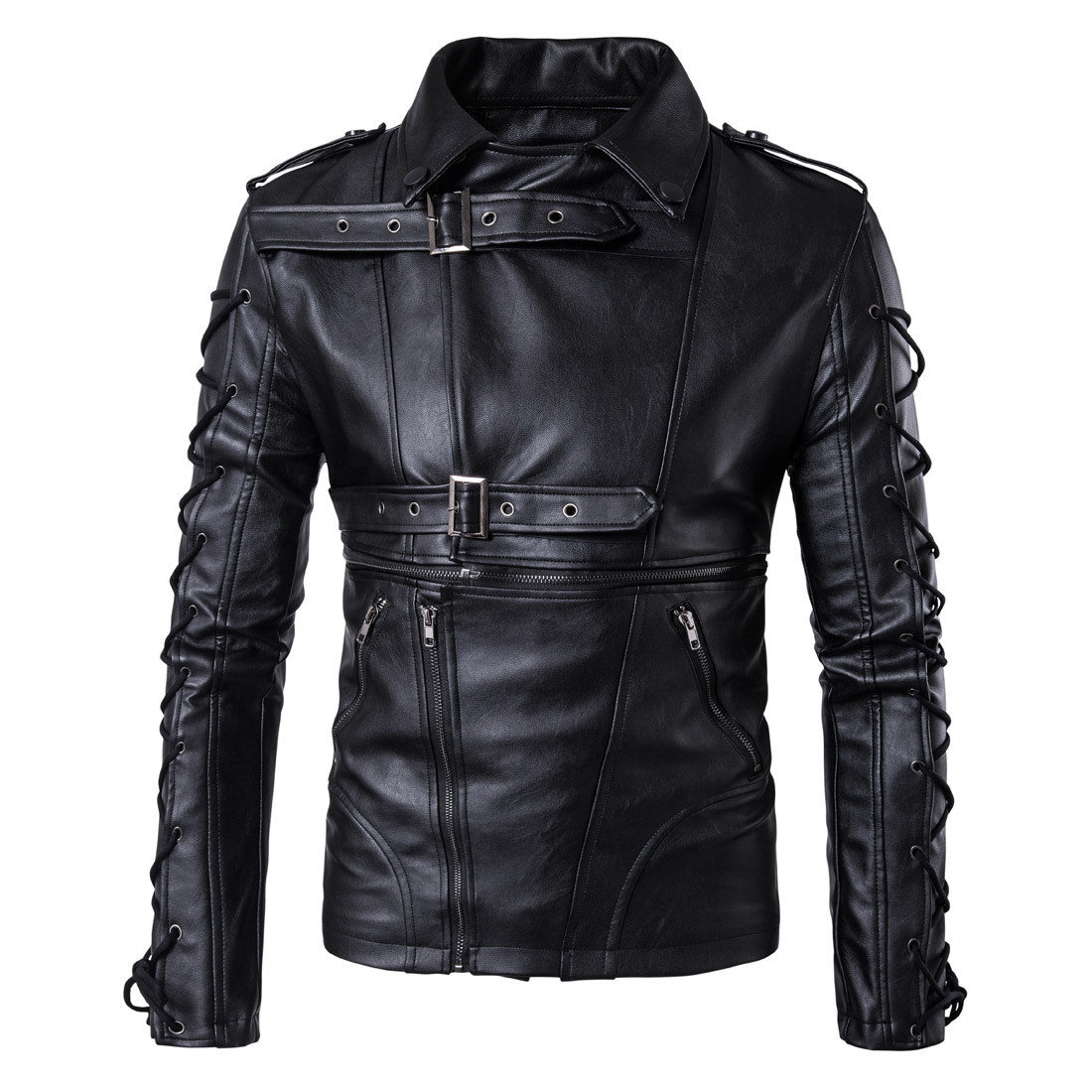 Ouma 2018 New Style High-End Men Locomotive Leather Coat Decadent Leather Jacket Coat Large Size Leather Coat B002