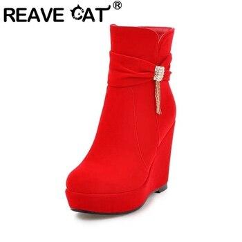 REAVE CAT Woman Winter Warm Ankle Boots Round Toe Wedge heel High platform Tassel Rhinestone Zipper Platform Casual Party A2775
