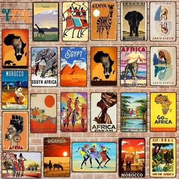 【Yzfq】 afryka miasto tablica metalowa Vintage podróży znak blaszany metalowa płytka na ścianie Pub Cafe salon rzemiosło artystyczne domu DU-7983B