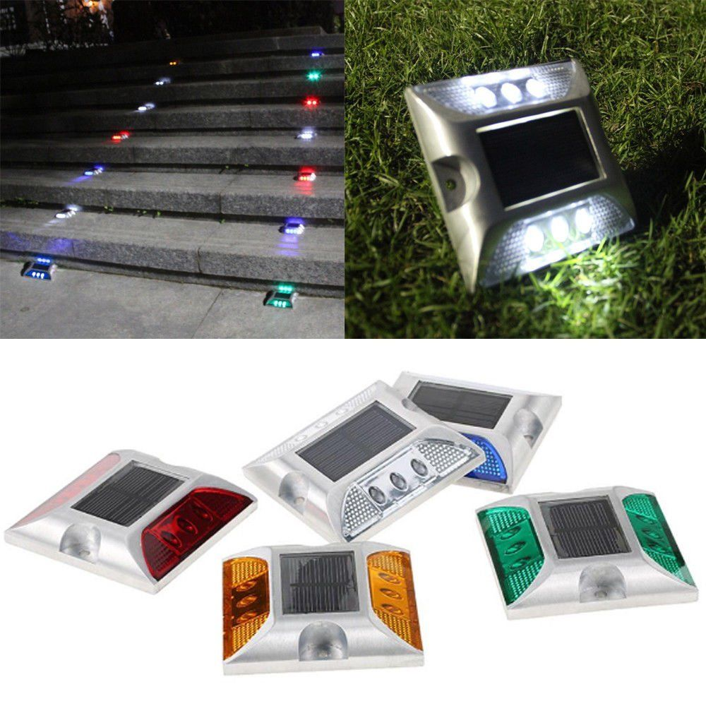 Aluminum Waterproof LED Solar Powered Road Stud Light Reflective Ground Light Path Deck Dock Warning Light 5 Colors 105*105*24