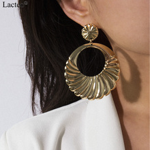 Lacteo Punk Hollow Circle Dangle Earrings for Women Statement 2019 Fashion Golden Geometric Drop Female Jewelry Gifts