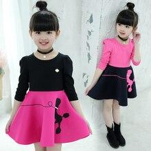 купить Sweet Autumn Winter Cotton Long Sleeve Waist Slim Fit Tutu Girls Dress Children Party Princess Kids Dresses For Girls 3T-12T по цене 801.77 рублей