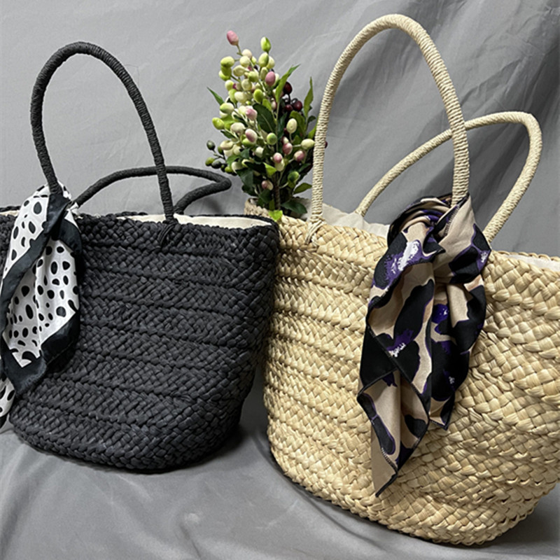 Large Straw Beach Bag with Woven Pattern for Summer 2021