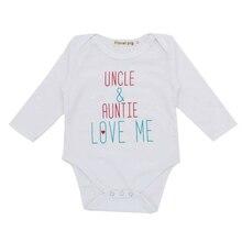 Одежда для маленьких девочек и мальчиков г. Боди для новорожденных, комбинезон, маленькие хлопковые осенние белые боди с длинными рукавами для малышей с изображением дяди тети и любящей меня