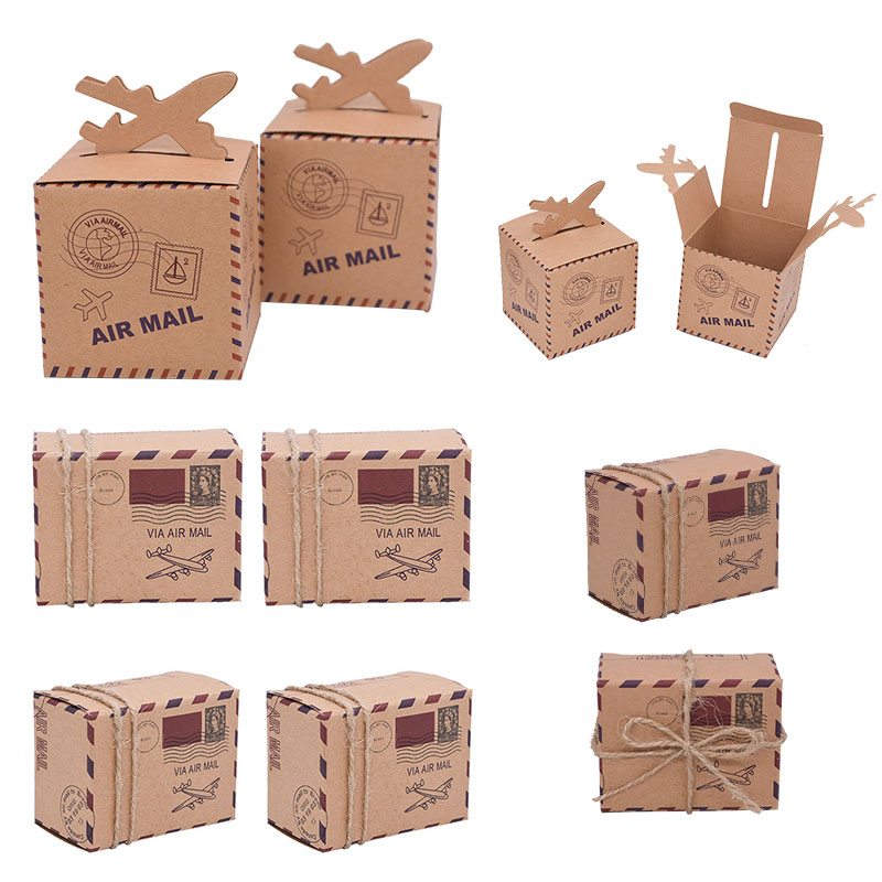 10/20/30Pcs Kraft Paper Candy Box Travel Theme Airplane Air Mail Boxes Gift Packaging Wedding Birthday Decor Party Favor Supply image