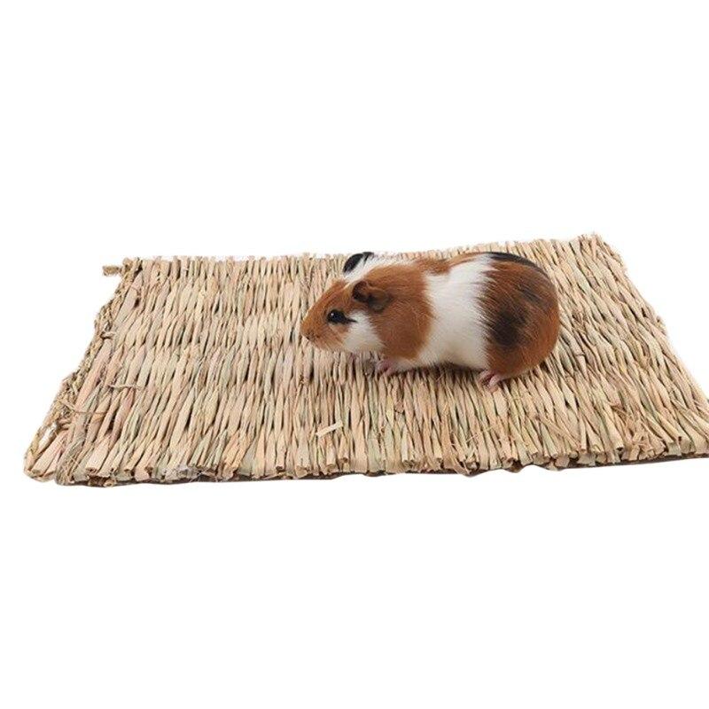 Hamster Grass Weaving Mat Small Pet Nest Squirrel Guinea Pig Ferret Rabbit Edible Molar Handmade Hay Mat Pets Cage Accessory Q1