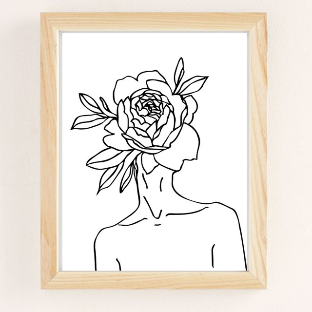 Line Drawing Flower Girl Abstract Poster Wall Art Canvas Print Black White Simple Painting Decorative Picture Modern Home Decor Painting Calligraphy Aliexpress