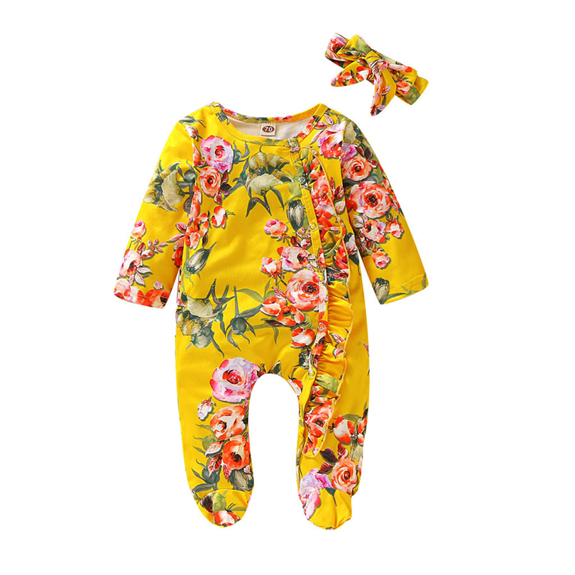 Newborn Footies Infant Boys Girls Floral Print Ruffles Winter Long Sleeve Jumpsuit Fashion Baby Clothes + Headband Set 0-18M A20