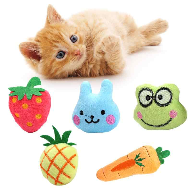 New Pet Dog Cat Chewing Toy Cat Mint  Pet Toy Plush Cat Fish Toy Fruit Animal Series Catnip Chew Squeaker Toy Teeth Grinding Toy
