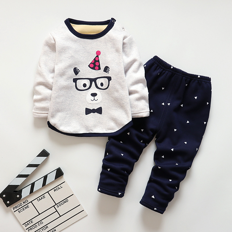 BibiCola winter kids sleepwear clothes   sets   boys girls comfortable clothes kids warm thick shirts + pants   pajamas   clothing