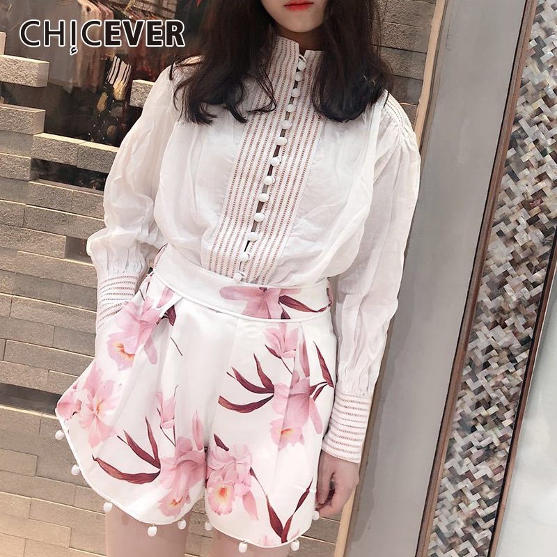CHICEVER Printed Floral Shorts White Shirt Suits Women Long Sleeve Blouse Tops High Waist Shorts Female Two Piece Sets New