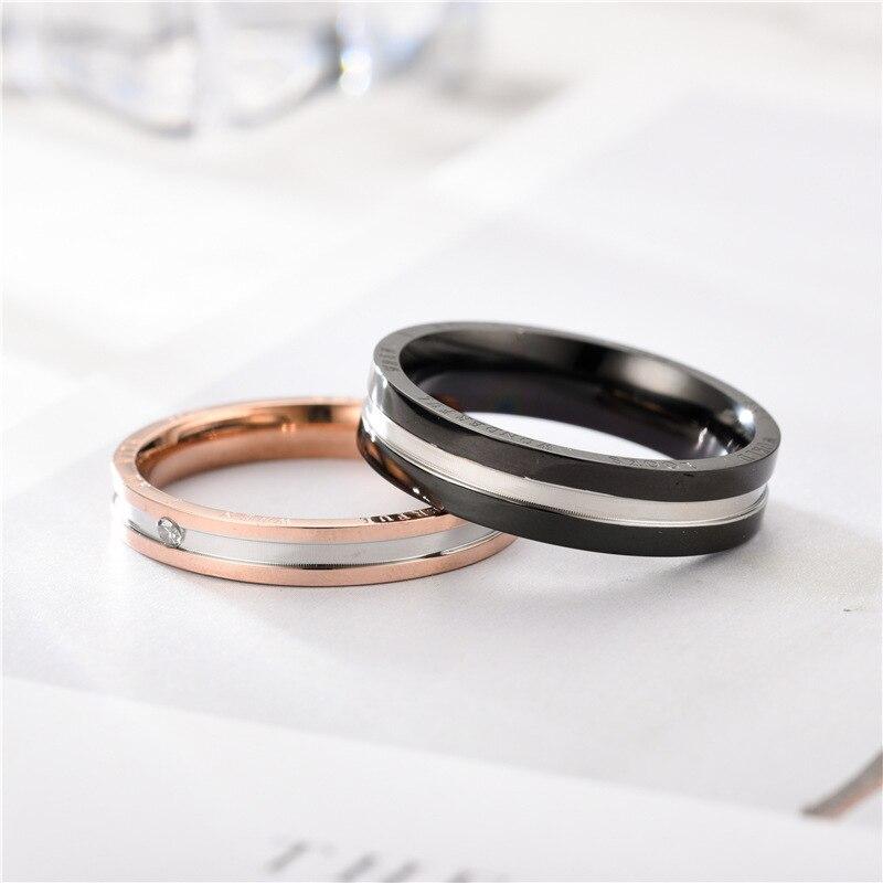 Alliage argent anneau bijoux accessoires bague de fiançailles anneaux pour amoureux en acier inoxydable anneau Simple et élégant Couple anneaux - 6