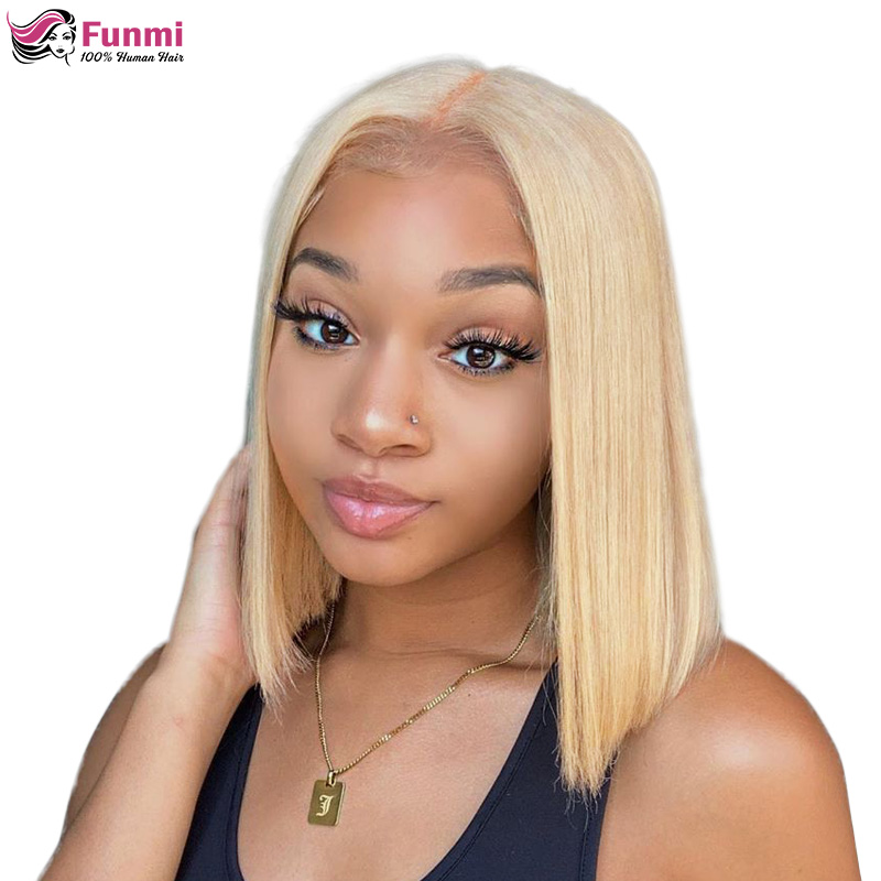 Funmi Hair 13x4 613 Blonde Brazilian Straight Human Hair Bob Wigs 8-16 Inch Remy Ombre Bob Lace Front Wigs For Black Women