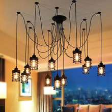 Art Decor DIY Wire Black spider chandelier Lighting For Bar Coffee Shop Kitchen loft chandeliers E27 Edison Bulb pendant lamp new chinese spring flowers in full bloom painting chandelier coffee carved wood art e27 lamp for corridor