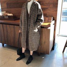Casaco de lã feminina do vintage moda lapela longa mistura casacos feminino 2020 coreano solto xadrez feminino outono casaco/jaqueta