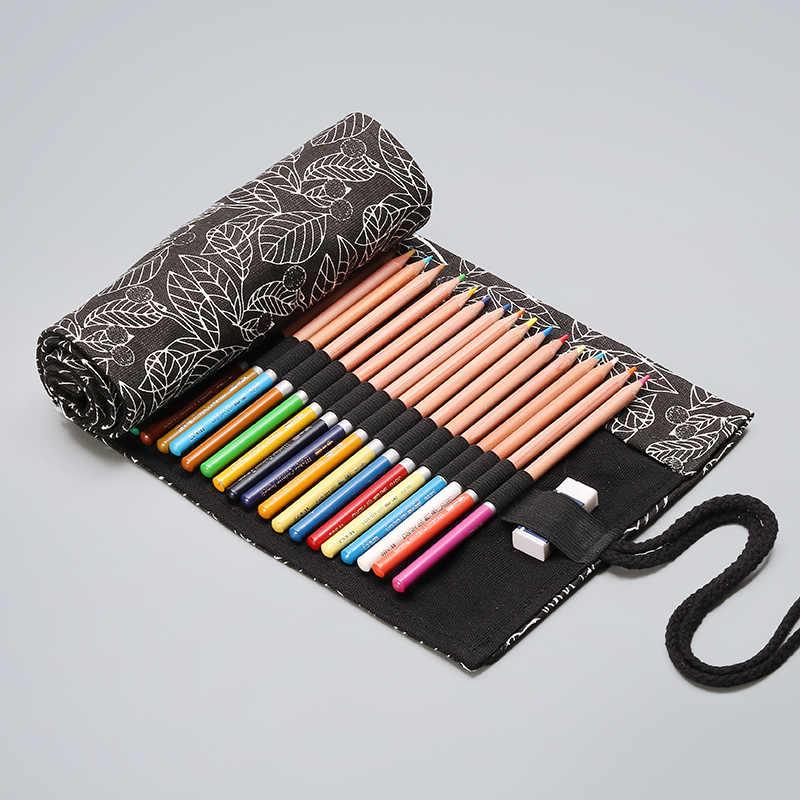 12/24/36/48/72 หลุมโรงเรียนดินสอม้วนสีดำใบ Penal ขนาดใหญ่ Solt ตลับหมึกสำหรับหญิงชาย Pencilcase ชุดเครื่องเขียน
