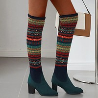 Bohemia Women's Ethnic Style Boots Winter Long Tube Knitted Socks Boot Sexy Female High Heel Warm Shoes Thigh High Pointed Botas