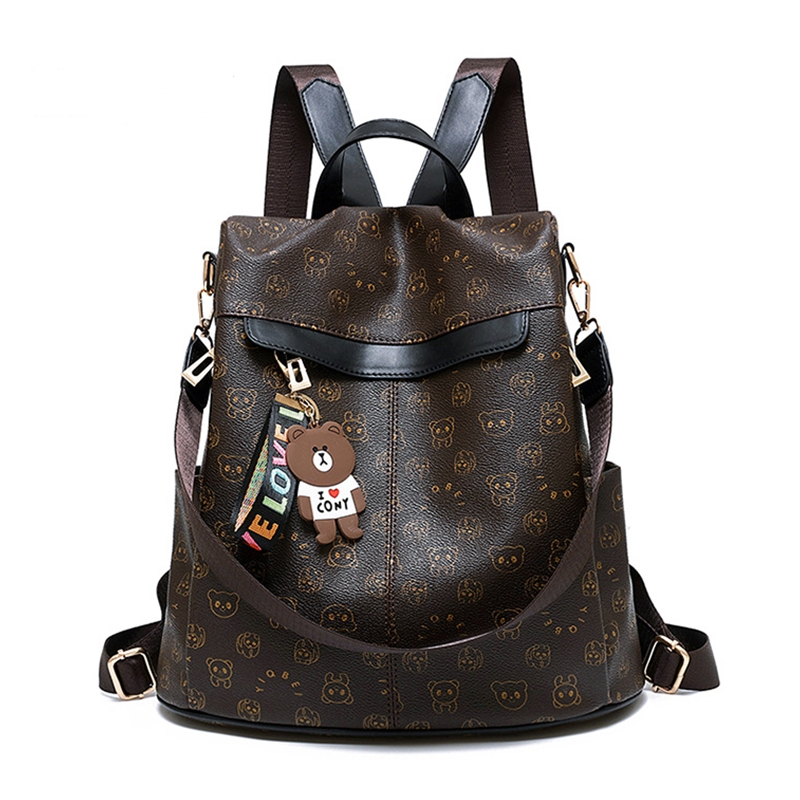 women leather backpack casual large capacity school bags women fashion casual travel backpack waterproof anti-theft backpack image