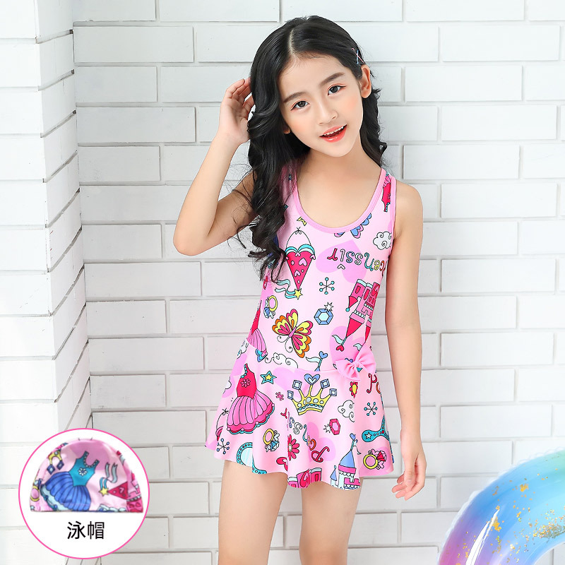 New Style Children Bathing Suit Skirt One-piece Swimming Suit Girls Big Boy GIRL'S Tour Bathing Suit