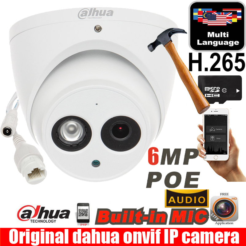 Dahua IPC-HDW4631C-A waterproof metal case 6MP Built-in MIC POE dome ip camera IR 50m IP67 IK10 ip camera dahua 6MP camera