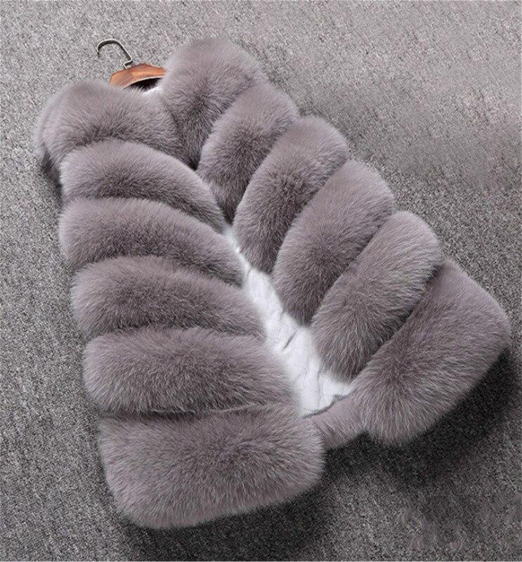 2019 New Winter Women Elegant Faux Fur Vest Sleeveless Fashion Fur Waistcoat Slim Fit Warm Casual Outdoor Fox Fur Gilet Vest