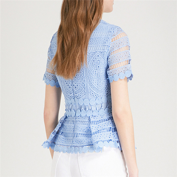 2020 NEw Summer Lace Blouse Cute Women Short Sleeve Hollow Out Tunic LIght BLue Lace TOp Ladies Shirt