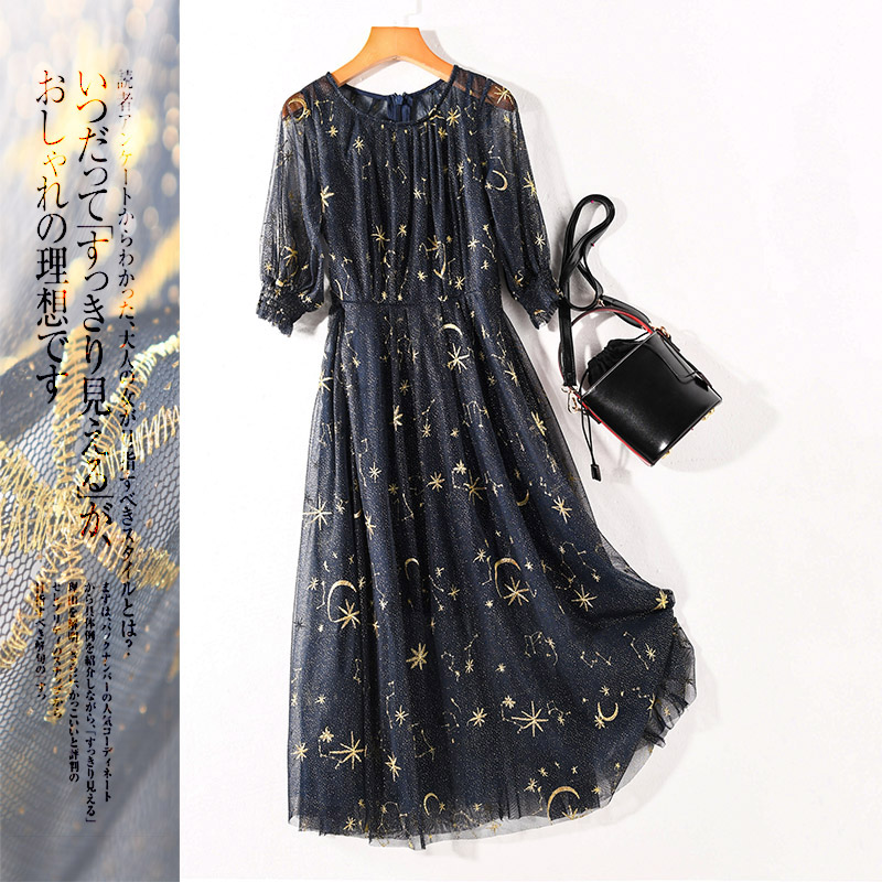 Nouvelle belle déesse girlies LY1171 filets broderie à manches courtes robe longue en été