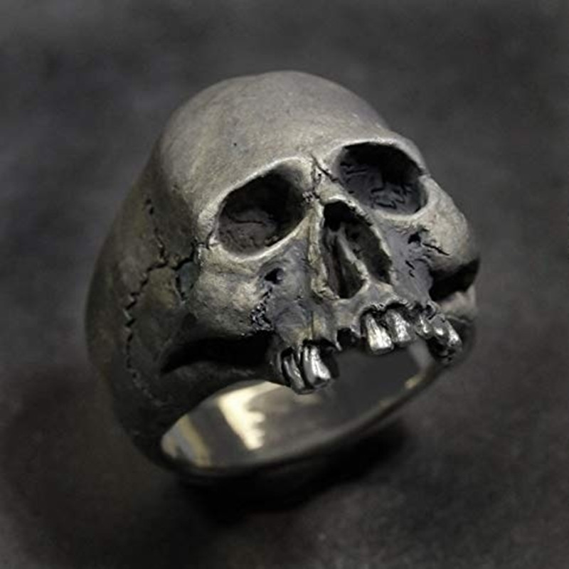 FDLK New Vintage Zinc Alloy Skull Silver Color Ring Mens Skull Biker Rock Roll Gothic Punk Jewelry Ring(China)