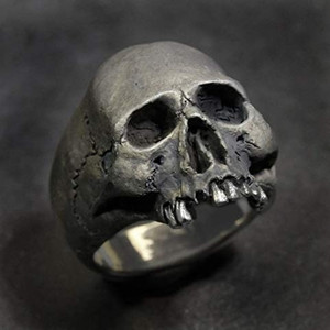 FDLK New Vintage Zinc Alloy Skull Silver Color Ring Mens Skull Biker Rock Roll Gothic Punk Jewelry Ring