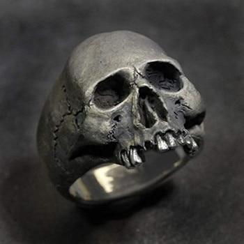 FDLK    New Vintage Zinc Alloy Skull Silver Color Ring Mens Skull Biker Rock Roll Gothic Punk Jewelry Ring