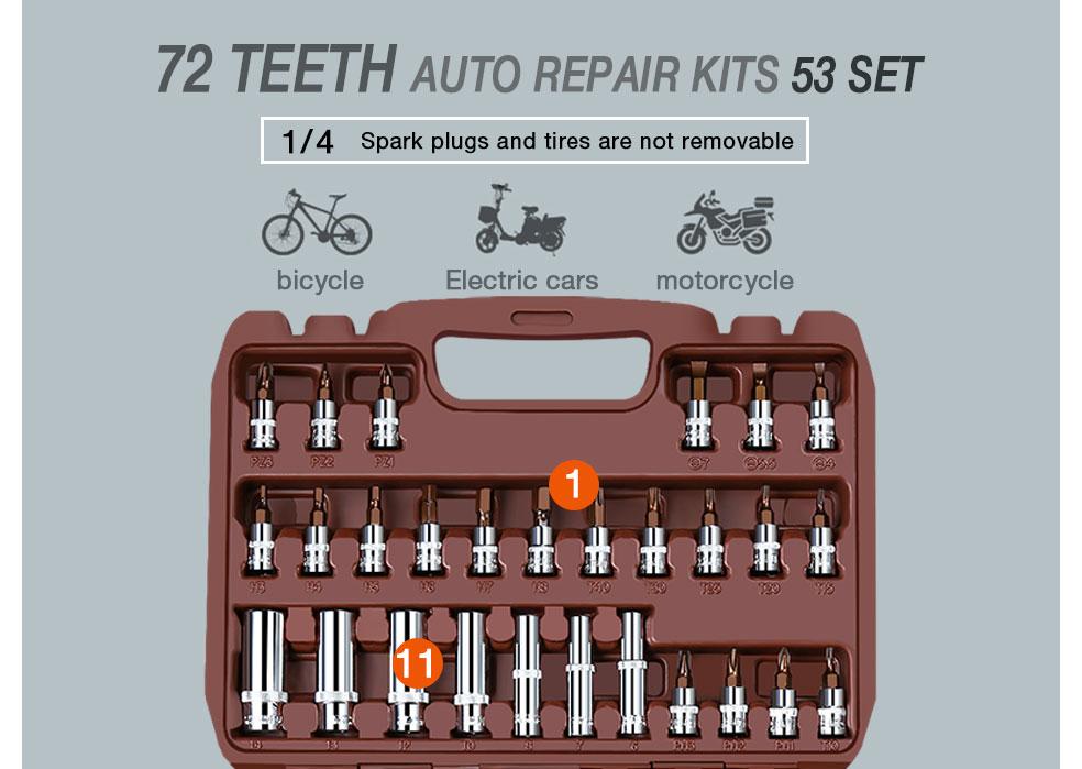 AI-ROAD Household Multifunction Car Repair Tool Kit Home 53 sets