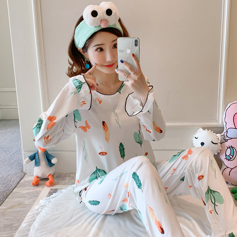 JULY'S SONG Women Cartoon Pajamas Set Cute Casual Printing Homewear Autumn Winter New Fashion Long Sleeve Female Sleepwear