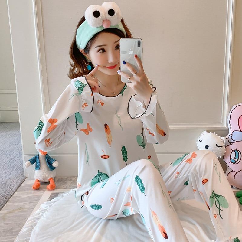 JULY'S SONG Women Cartoon Pajamas Set Cute Casual Printing Homewear Autumn Winter New Fashion Long Sleeve Female Sleepwear