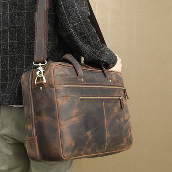 YUPINXUAN cuero genuino hombro abogado maletín vendimia
