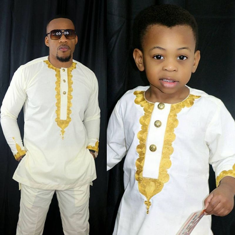 H&D Autumn African Parent Kid Clothes Fashion Embroidery Dashiki Africa Men Boy Tops Pant 2 Pieces Set Long Sleeve Outfit Suits