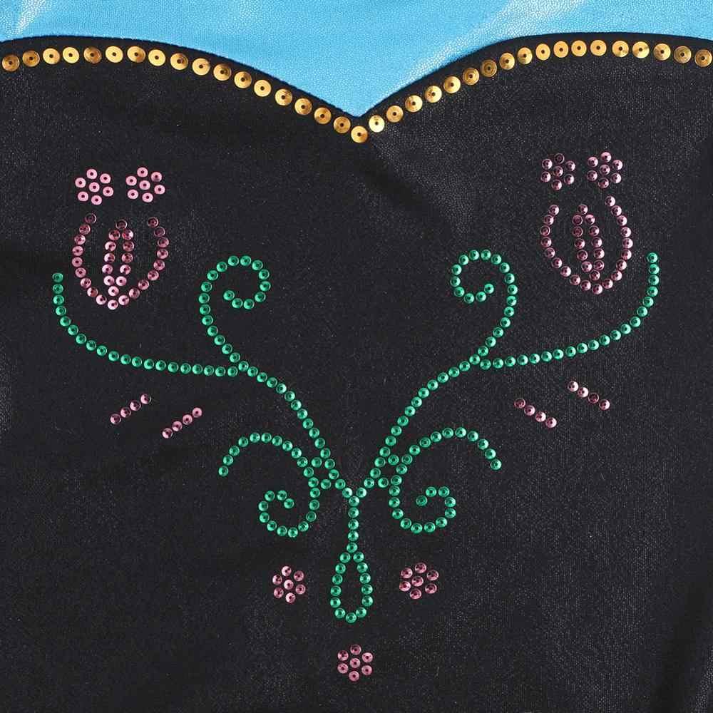 BAOHULU 3-12 lat dziewczyny gimnastyka trykot dzieci z długim rękawem balet kostium taneczny czarny niebieski cekiny trykoty dla dziewczynek dziecko