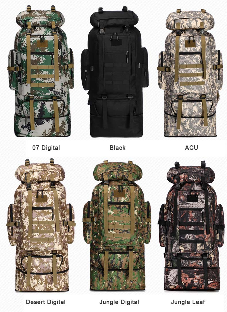 XL Tactical Backpack Colors and patterns