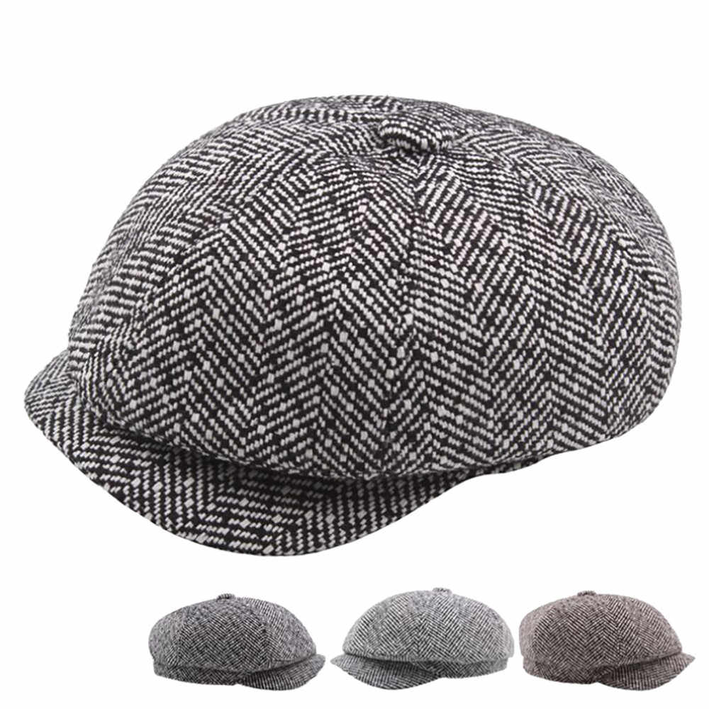 Hot Sale Autumn Winter Unisex Berets Hat French Artist Retro Style Warm Wool Knitted Beanie Hat Plaid Color Headwear Berets