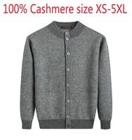 New Double Ply Thickened 100% Cashmere Sweater Male Winter Half High Collar Cardigan Coat Casual Computer Knitted Plus Size 5XL