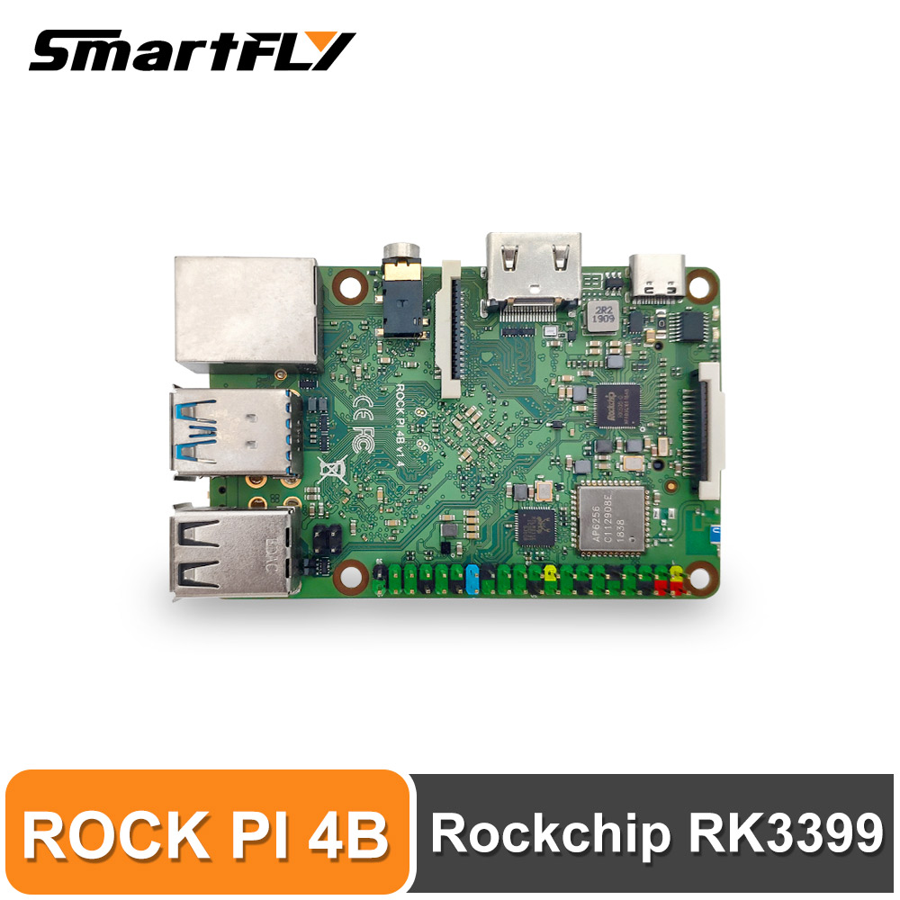 ROCK PI 4B V1.4 Rockchip RK3399 ARM Cortex Six Core SBC/Single Board Computer Compatible With Official Raspberry Pi Display