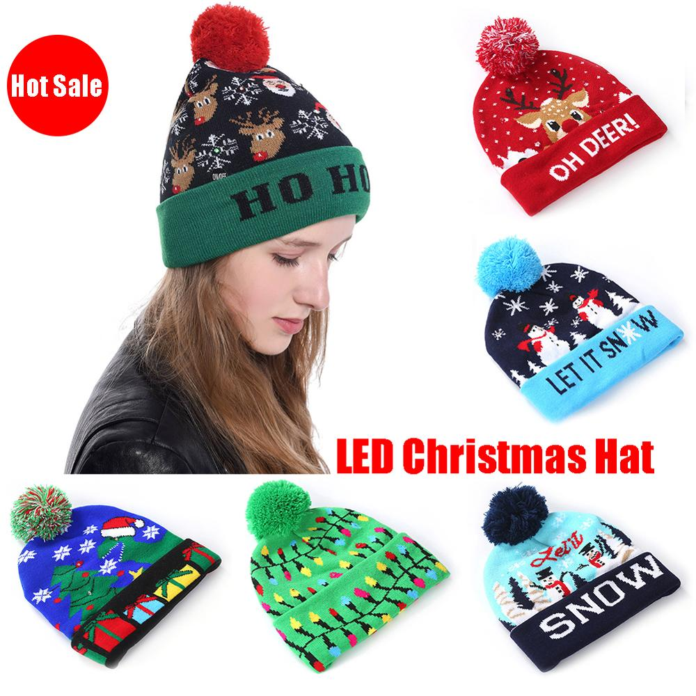 LED Christmas Beanie Light Up Hat New Year Elk Snowman Crochet Knitted Led Cap
