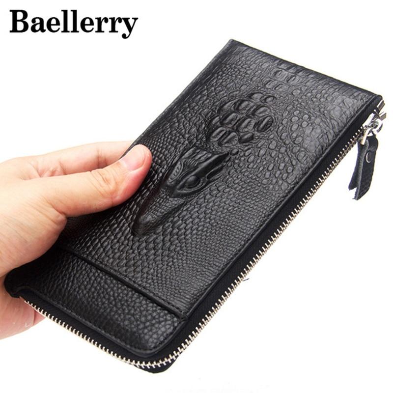 Baellerry Men Wallets Genuine Leather Wallet Men Purse Long Wallet Male Clutch Bag Crocodile Pattern Carteira Masculina MWS155