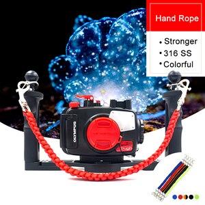 Image 2 - Tauchen Kamera Fach Griff Seil Lanyard Gurt träger für Gopro Sony Canon Nikon Gehäuse Fall Licht Halter Unterwasser Fotografie