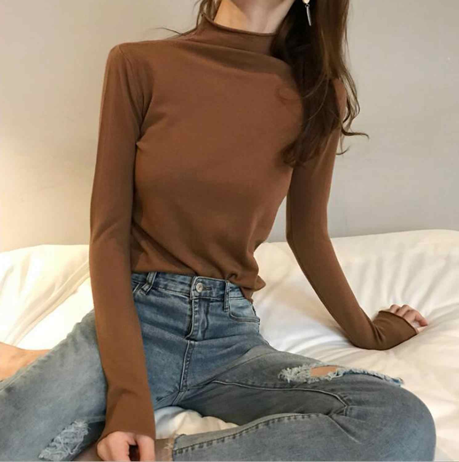 Fashion Wanita Bottoming Sweater Setengah Kerah Tinggi Curling Lengan Panjang Merajut Bottoming Sweater Musim Gugur dan Musim Dingin Slim Pullovers