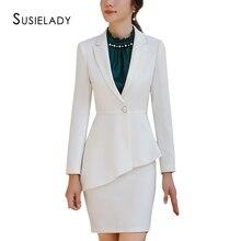 SUSIELADY, Женский Рабочий костюм, длинный рукав, блейзер, куртка и юбка, на одной пуговице, офисная одежда, женские костюмы, модный Блейзер, Femme