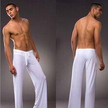 Mens White Coffee Gray Black Milk Silk Pajamas Pyjamas Pants Lounge